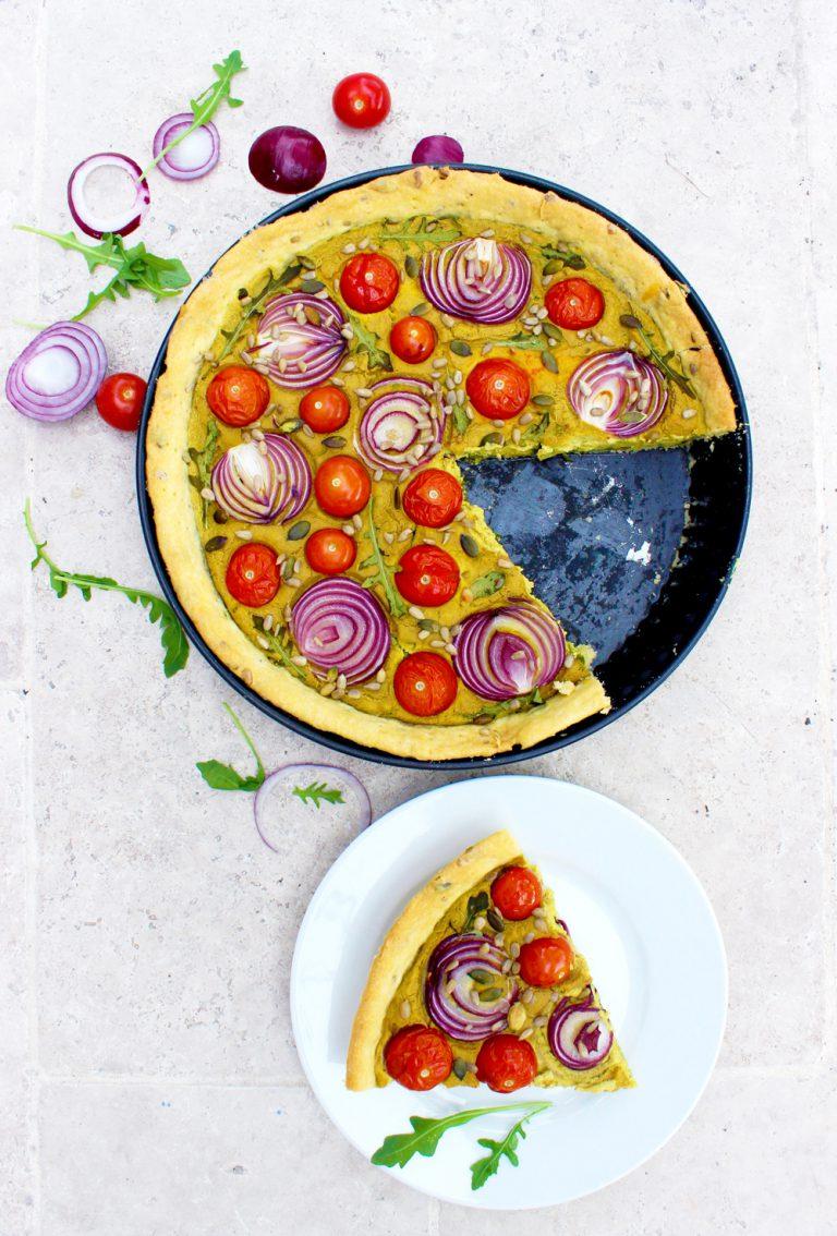 Quiche au curry et tomates cerises