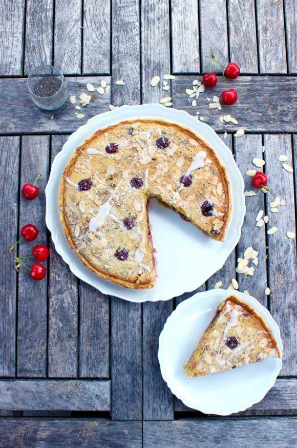 Bakewell pie aux amandes et cerises