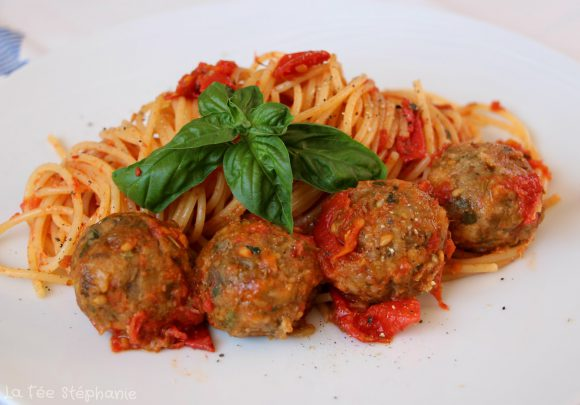 Spaghetti aux boulettes d'aubergines