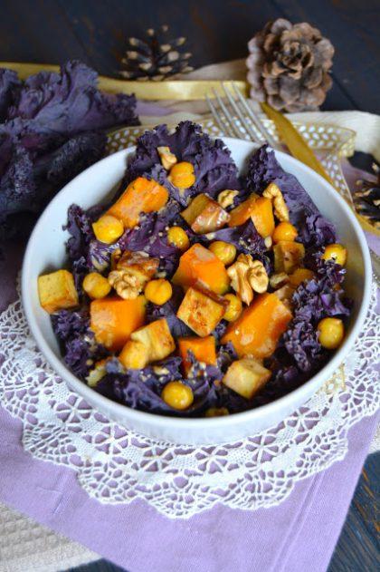 Salade au chou kale violet et potimarron