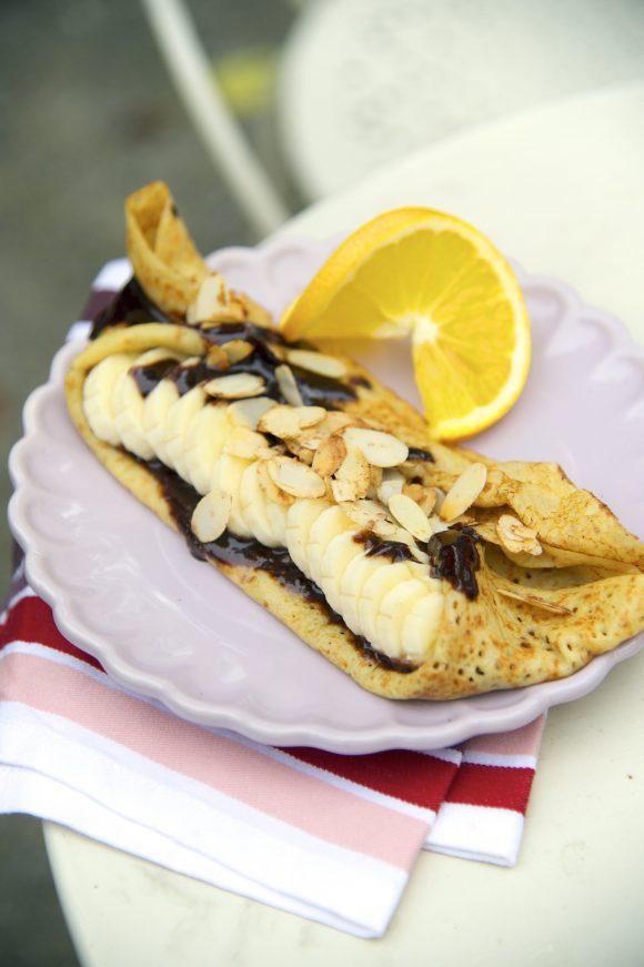 Crêpes à la pâte à tartiner chocolat-noisette et banane