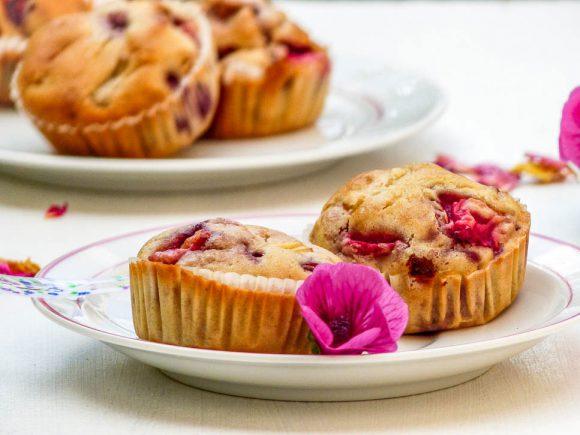 Muffins rhubarbe fraises